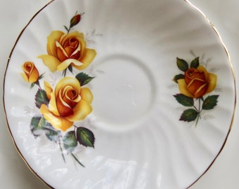 Delphine Orphan Bone China Swirl Saucer with Yellow Roses Replacement Saucer Only No Teacup