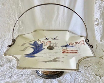 Pagoda Hand Painted Yeoman Plate by Lancaster & Sandland Ltd with Detachable Serving Handle and Base (see description)