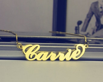 Gold Carrie Necklace, Fashion Carrie Name Necklace, Personalized Name Jewelry, My Name Necklace, Customize Necklace, DIY Name Necklace, Gift