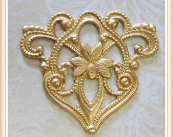 12 pcs brass raw brass filigree finding vintage embellishment ornate ornament E148