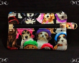 Cute dog/cat Pencil case, zipper pouch, make up bag, accessories bag with two zippers and keyring