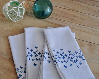 FLOCK NAPKINS >> white linen | cotton | bird print | navy blue | screen printed | fabric | table linens | decor |