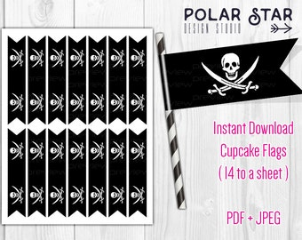 Jolly Roger / Pirate Flag - Cupcake Flag Toppers, Party Paper Flags, Straw Flags - DIY Printable Digital Files