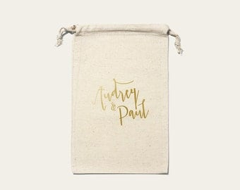 Large pouch wedding Champêtre personalized Cotton format 20 x 30 cm