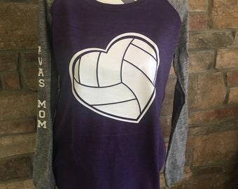 Volleyball Mom Shirt, Custom Volleyball Shirt, Volleyball Preppy Raglan, Sports Mom Bling