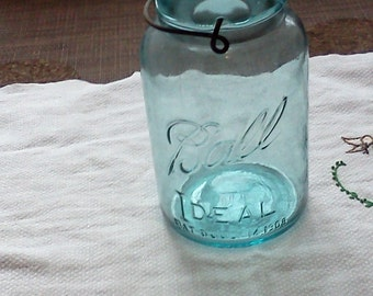 Vintage Ball IDEAL blue small mouth quart canning jar with lid.