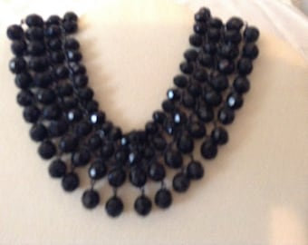 Chocker black glass beads, connected by metal