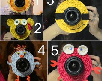 Set of 3 pcs. Crochet Cat lens critter, camera buddies, camera lens buddy, toys, photographer helper.