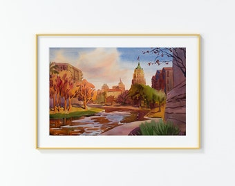 Original Watercolor Painting,Watercolor Painting,landscape,San Antonio,River walk,River
