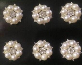 Rhinestones Button Pearls Broach 10 PCS, Gemstone Broach, Wedding Accesories, Pearl Brooch, Pearl Broach, Pearl Buttons, rhinestone bouquet