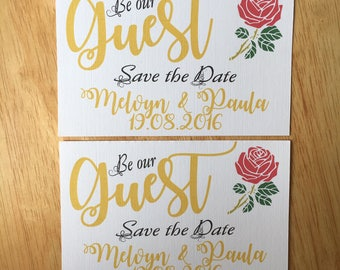 Beauty and the Beast inspired Save the Date card A6  a pack of 10 with envelopes.