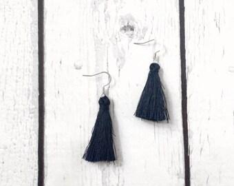 Navy Blue Tassel Earrings, Drop Earrings, Navy Earrings