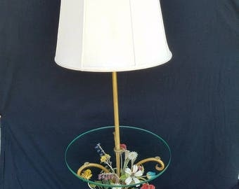 Vintage Marbro Italian Tole Glass Top Floor Lamp