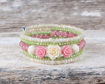 Spring bracelet, mother of day gift, flowers, pink, pastel, Easter, quality bracelet, chic, marriage, women bracelet, memory wire,