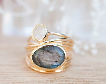 Gold Plated 14k Ring * Labradorite * Moonstone * Gemstones * Handmade * Statement * Natural * Organic * Gift for her * Jewelry*Bycila*BJR024