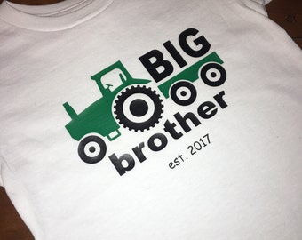 Big brother - vinyl - tractor - custom - little brother - brothers - onesie - toddler tee