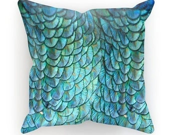mermaid pillow turquoise feathers throw pillow peacock cushion mermaid scales dragon home decor soft furnishings small - Mermaid Home Decor