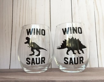 Funny Wine Glasses SET | Wine Gift | Wine Lovers Gifts | Mom Wine Glass | Gifts for Her | Winosaur Wine Glass | Dinosaur Wine Glass TRex