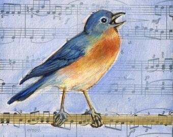 Bach Bluebird, bird painting, vintage music, music art, Bird Art
