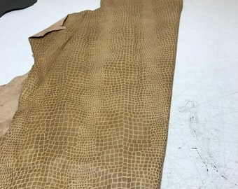 LIMITED OFFERING: Tan Crocodile Embossed Lamb Skin. Perfect for Garments, Jackets, Accessories, and Leather Crafts