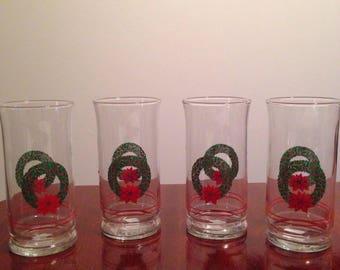 Vintage Libby Christmas wreath glasses set of 4