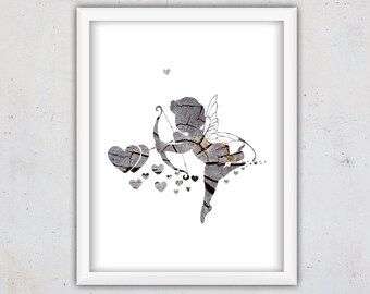 Printable Digital Download Print, Cupid Art Print, Grey Wood Texture Print, Digital Print, Printable Wall Art, Love Printable Instant Art