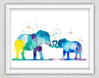 Elephants Family Print, Art Decor Nursery, Safari Nursery Decor, Printable Elephants Poster, Kids Wall Art Decor Watercolor Digital Download