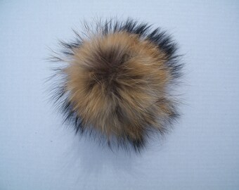 15cm - Real Fur Pom Poms - Natural Brown - Great for hats and projects - Extra Large