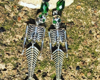 Mermaid Skeleton earrings with emerald swarovski eyes