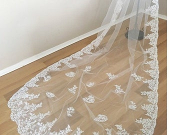 Lace cathedral wedding veil vintage style floral lace bridal veil