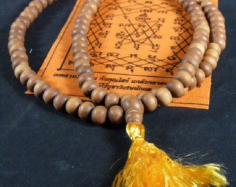 "9mm Genuine Fragrant Sandalwood Mala Buddhist Prayer Beads Rosary India ~32"""