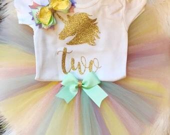 Unicorn shirt or pastel tutu set