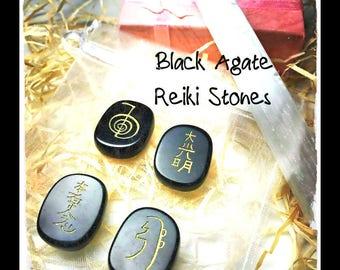 Usui Stones, Reiki Stones, Chakra stone set,  Reiki set, Meditation stones, Healing stones, Healing crystals, reiki, black agate stones