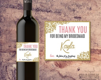 BRIDESMAID THANK YOU Personalized Wine Bottle Label Gift Custom Wedding Wine Labels