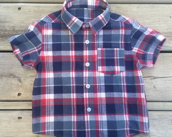 12-18 months - Boys' Navy Blue / White Plaid Short-Sleeved Dress Shirt