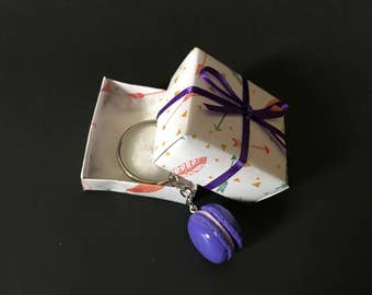 Purple polymer clay macaroon keychain gift box