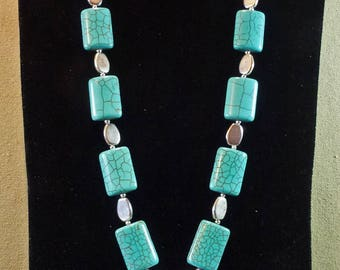 Turquoise Magnesite & Silver Necklace and Earrings, Cross Pendant