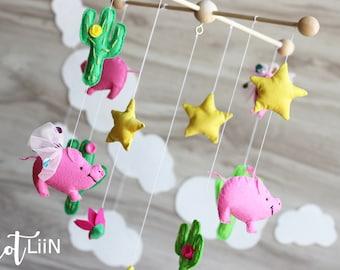 Baby mobile cacti nursery pig baby mobile Cactus baby mobile Modern nursery Green baby mobile ballerina fly pig  Crib mobile Nursery mobile