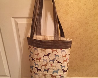 Shopper, shopping bag, quilted bag, dog, terrier, Tote bag