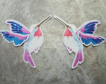 Large Colourful Sequin Hummingbirds SEW ON Applique Patch