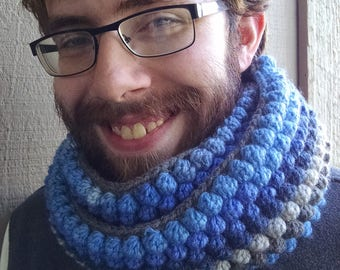 The Gray Warden - Crochet Infinity Puff Scarf