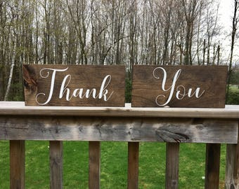 Thank You Signs - Wedding Décor - Photo Prop Signs - Bridal Shower Gift - Rustic Wood - Gift for Couple - Gift for Bride - Rustic Wedding
