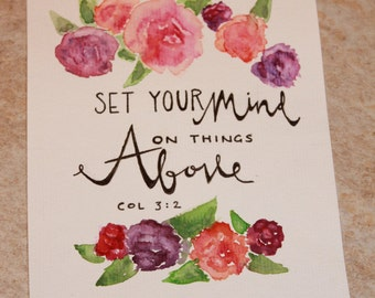Bible Verse Mixed Media Painting Colossians 3:2 'Set your mind on things above.'