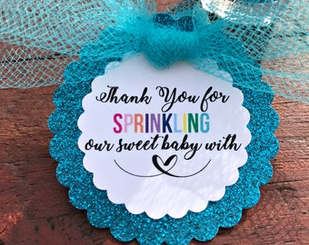 Baby Sprinkle Favors - Nail Polish Favors - Sprinkle Baby Shower - Sprinkled with Love - Baby Sprinkle Girl or Boy - Thank You Tags