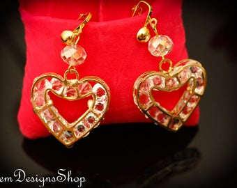 Heart Shaped Gold And Clear Glass Dangling Earrings 140ER