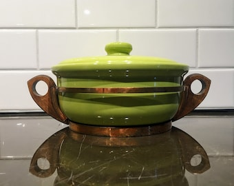 Gorgeous Bauer Green Lidded Casserole Dish with Copper and Wooden Carrier