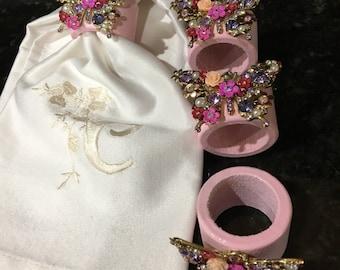 Butterfly jewled napkin rings