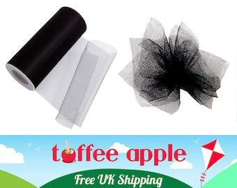 6 Inch (152mm) Black Nylon Net Tulle Ribbon