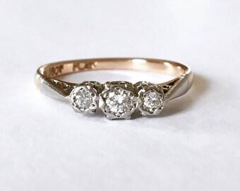 Vintage 18ct Gold & Platinum Diamond Trilogy Ring