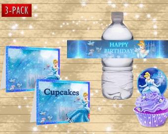 Cinderella bottle wrapper- food label- DIY princess happy birthday party decoration - Digital file for download